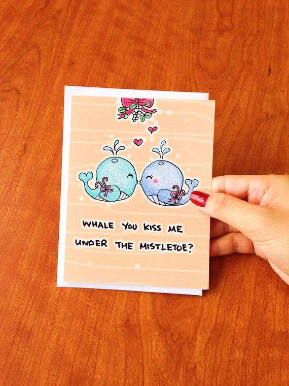 Funny Christmas Card boyfriend christmas card funny, funny christmas card husband, funny holiday card girlfriend, mistletoe card wife by LoveNCreativity