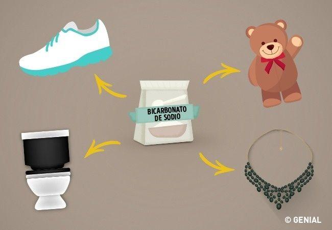 Con el bicarbonato diluido en agua puedes crear un potente limpiador multiuso. Puedes prepararlo en un atomizador o simplemente aplicarlo con un paño o esponja para: Limpiar joyas, artículos de plata y metales. Dar brillo a los artículos cromados. Desinfectar el sanitario y los azulejos. Limpiar el moho de la cortina de la ducha. Destapar cañerías. Eliminar manchas en muebles de madera. Limpiar y brillar vidrios y cristales. Remover manchas de crayón,bolígrafos y marcadores.Limpiar el h
