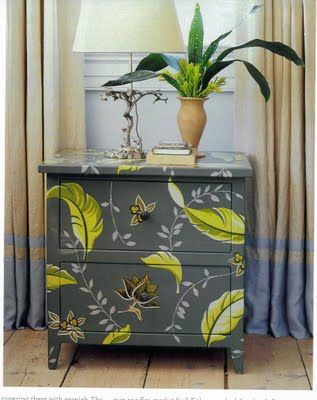 """Using découpage for design furniture - Découpage is an age-old technique that was used centuries ago in places like France, China, and Russia and was extremely popular in the 1960s when crafting became the """"groovy"""" thing to do!  Read more: http://home.tipsdiscover.com/using-decoupage-for-design-furniture/#ixzz2jtPdxzQ0"""