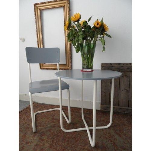 Industriële tafel & stoel, jaren '50 - Stoelen & Banken - Winkel De HuisraadKamer