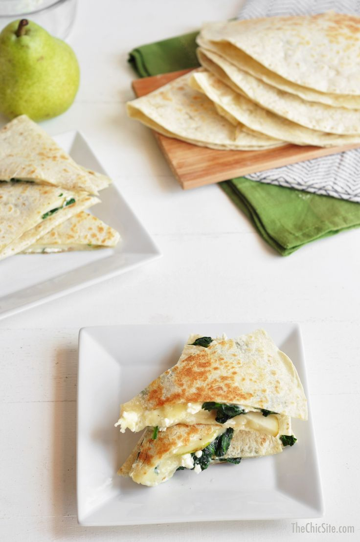 Spinach, pear and Feta quesadillas. I think I would use blue cheese instead.