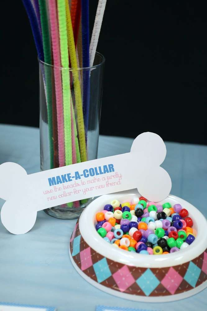 Make a collar at this fun pets birthday party! See more party ideas at CatchMyParty.com!