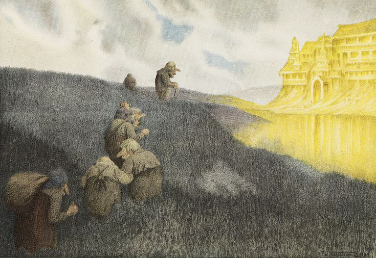 Theodor Kittelsen - On a way to the Feast in the Trollcastle, 1904