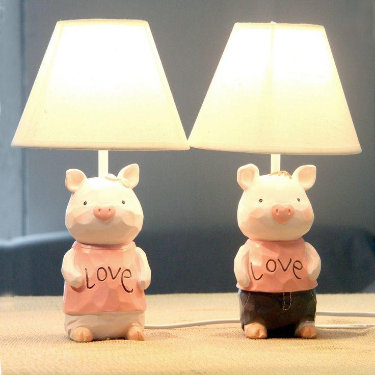 Amar el cerdo tabla de la boda lámpara de noche dormitorio de la lámpara de los cabritos creativo de moda oscurecimiento hermoso regalo de boda en Lámparas de Escritorio de Iluminación en AliExpress.com   Alibaba Group