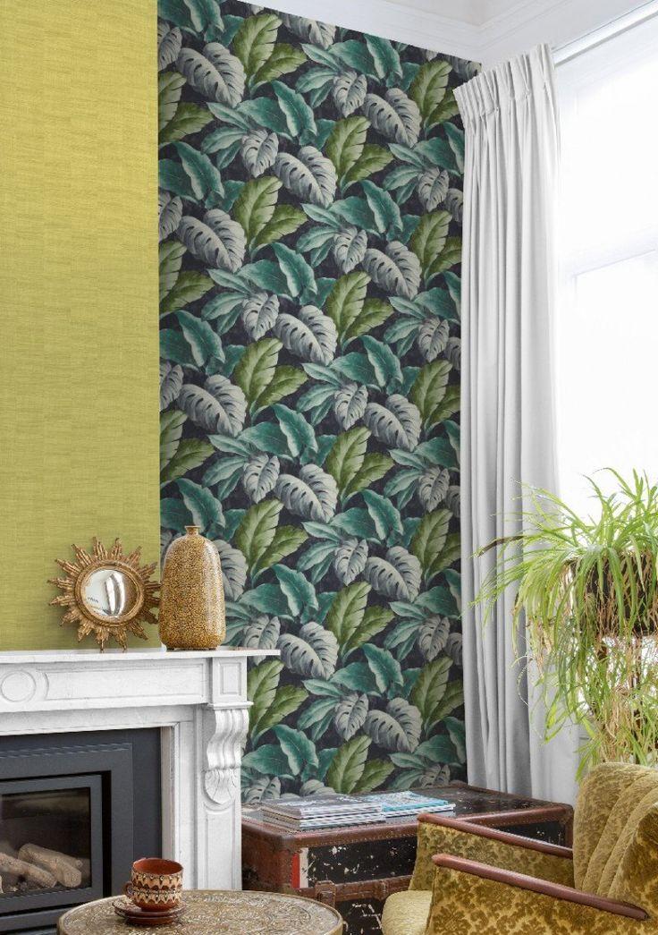 Tapete Tropical Leaves col.07 | FT21419-1 | Landhaus Tapeten in den Farben weiß - grün | Grundton lila