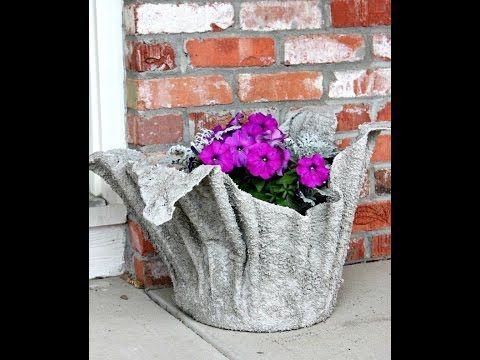 Como fazer um vaso de toalha e cimento - YouTube