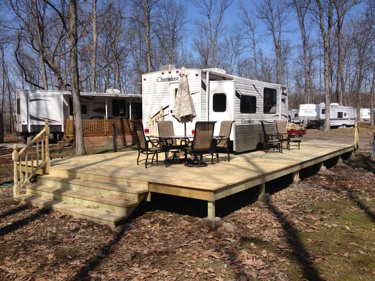 Best 25 woodhaven lakes ideas on pinterest camping for Rv decks designs