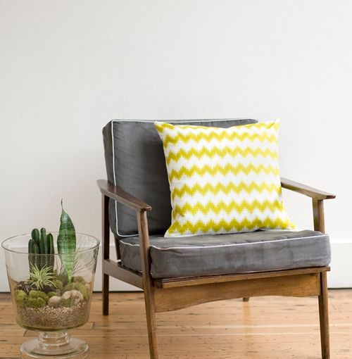 Love This Chair/ Pillow Combo  Chevron Pixel Pillow By PigeonToeCeramics
