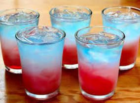 Bacardi Bomb Pops! Bomb Pop Shots 1/3 ounce Sprite * 1/3 ounce lemon vodka * 2/3 ounce blue curacao 2/3 ounce grenadine ice *Note: Can use Mike's Hard Lemonade or Smirnoff Ice in place of these Instructions