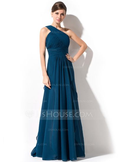 A-Line/Princess One-Shoulder Floor-Length Cascading Ruffles Zipper Up at Side Regular Straps Sleeveless No Ink Blue Spring Summer Fall General Plus Chiffon Evening Dress