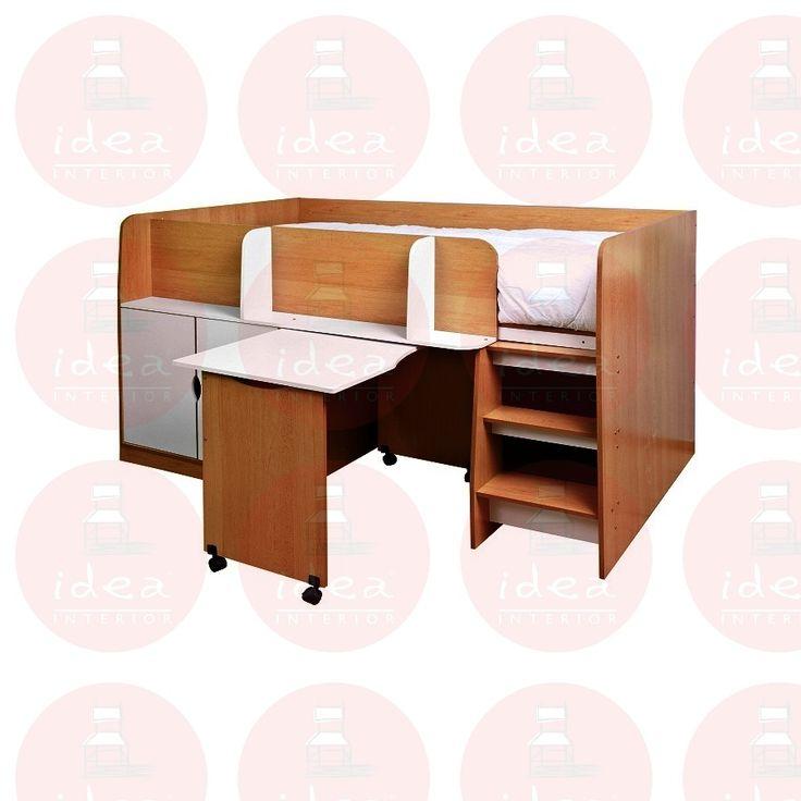 Cama alta individual con escritorio movible melamina blanco haya 1 0 piezas idea interior - Cama alta con escritorio ...