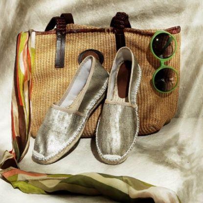 Primavera Estate 2014 Espadrillas in tessuto metallizzato con nappa alta e suola in gomma, colore oro http://www.lodishop.com/negozio/kammi/ #espadrillas #shoes #kammi #lodi #italy