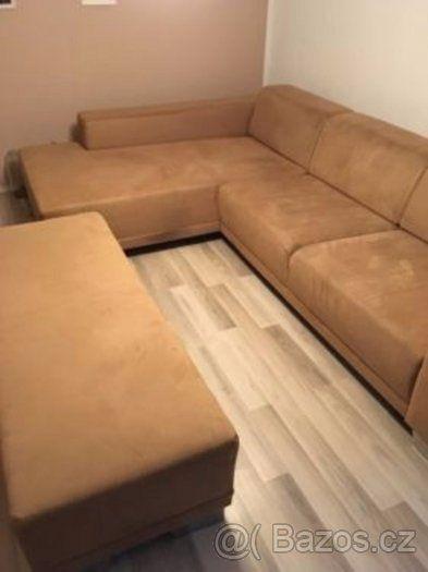 Moderní gauč včetně veliké podnožky - Jablonec nad Nisou, prodám