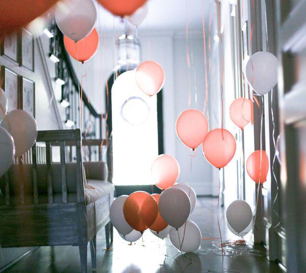 Balloon filled hallway for Halloween