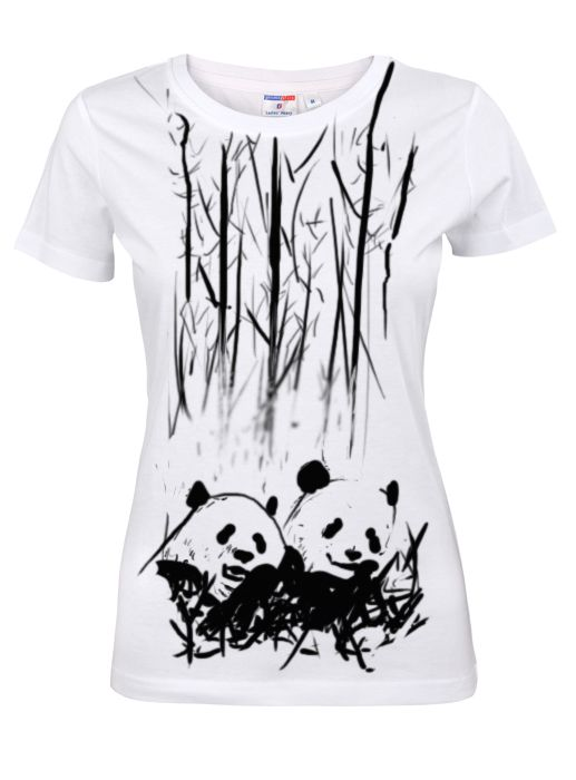 """Cool, """" Pandas """" t- shirt. Check out our hand painted woman clothes and girl shirts at Etsy- toobaposters.  #shirt #cloth #clothing #girl #woman #handmade #t-shirt #black #white #cool #nice #panda #tooba"""