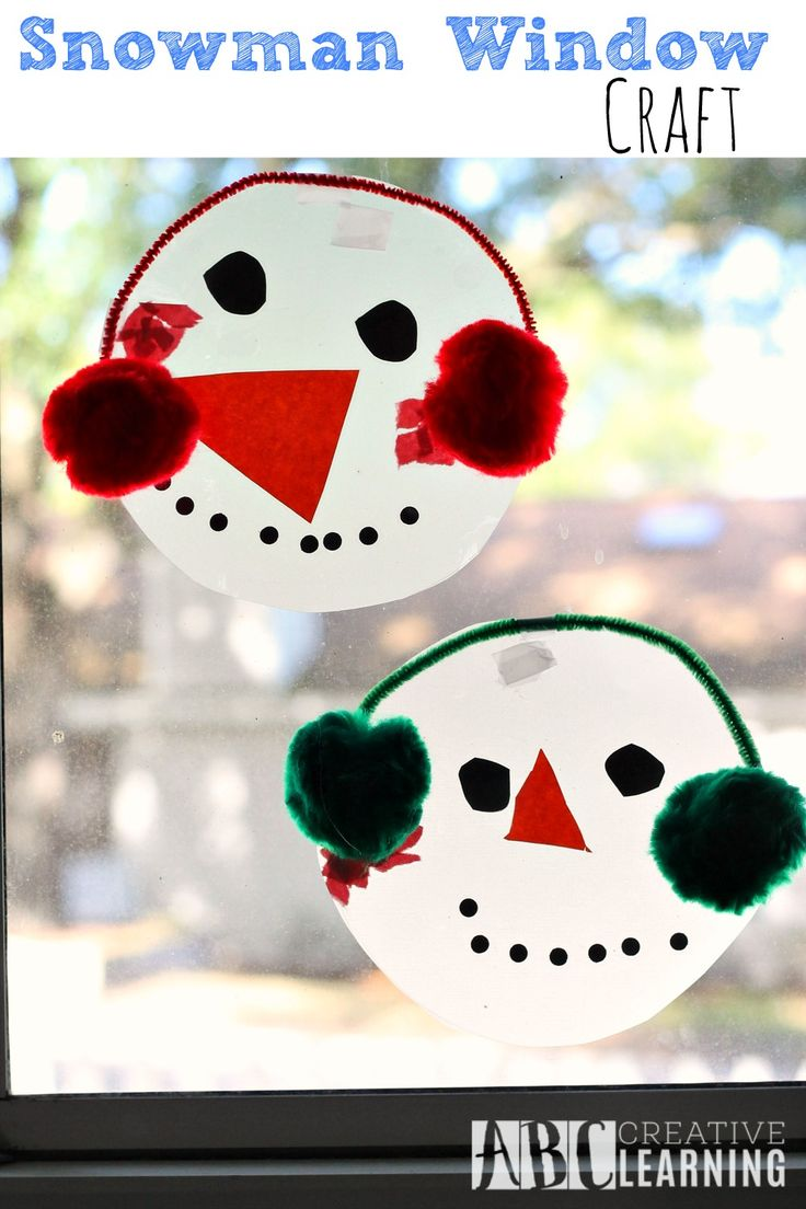 Snowman Window Craft activity for kids! Perfect to practice fine motor skills. - abccreativelearning.com