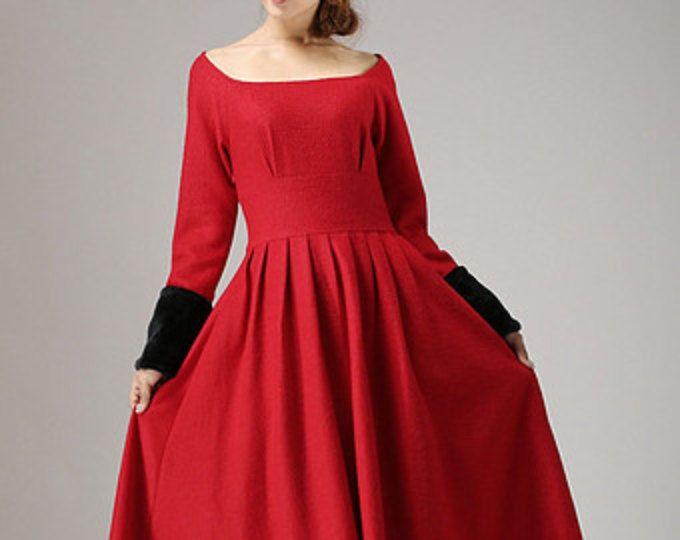 rode jurk, wollen jurk, maxi winter jurk, dames jurken, elegante jurk, hoog getailleerde jurk, handgemaakte jurk, partij jurk, cadeau voor vrouwen (737)