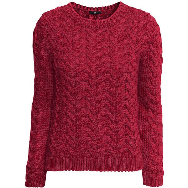 H&M Cable-knit jumper (280 EGP) ❤ liked on Polyvore featuring tops, sweaters, jumper, red, cable knit jumper, red top, extra long sleeve sweater, red jumper and cable-knit sweater