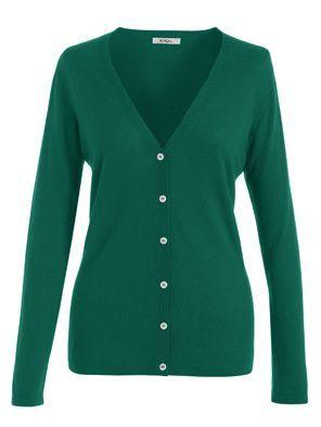 Svetr ze 100% superfine kašmírové vlny, zelené barvy, s propínáním a výstřihem do véčka - Green #cashmere cardigan