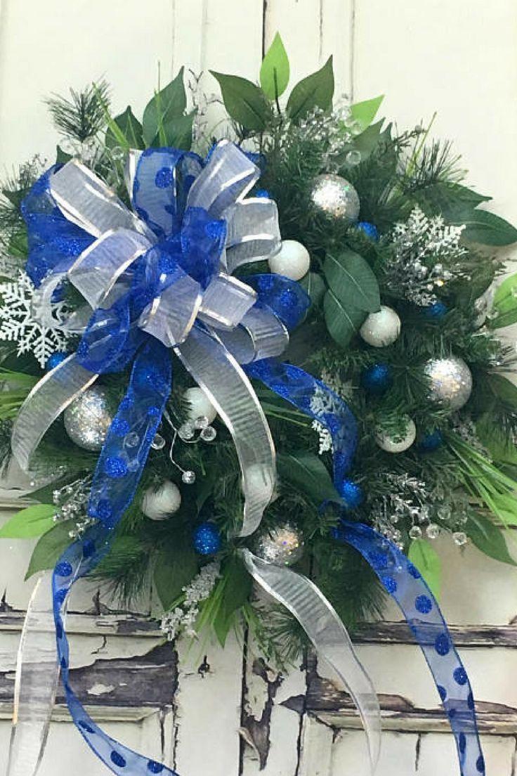 Christmas Wreaths For Sale, Silver Christmas Wreath, Xmas Door Wreaths, Door Wreath, Evergreen Wreath, Outdoor Wreath, Window Wreath