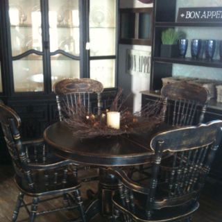 Oak table and chairs redone in a black vintage shabby chic style by Smugglers Cove! Check us out on Facebook!