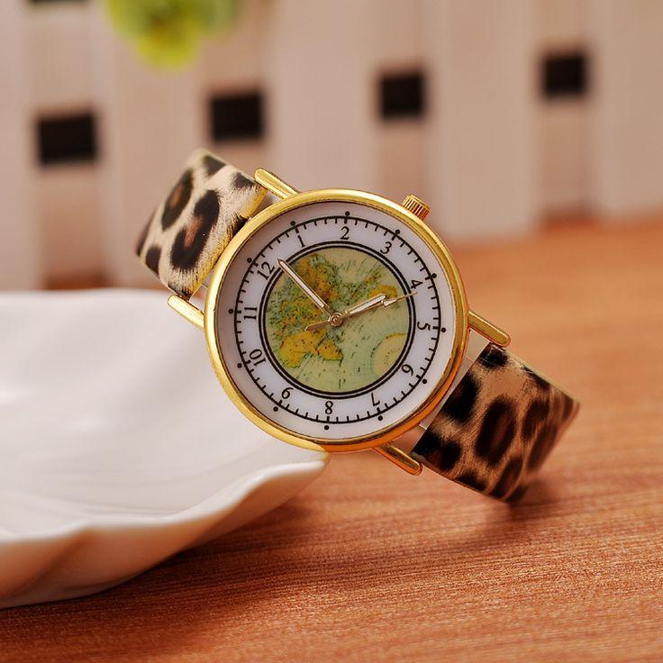 Women's Joker Classic World Map Literally Leopard Watches ...