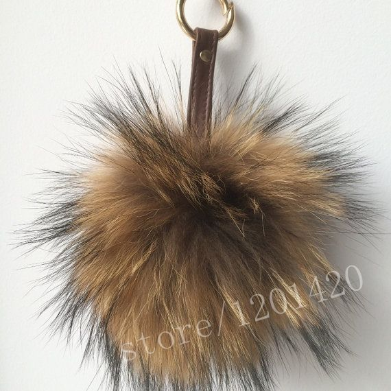 Long Hair Reccoon Fur Pompom Woman Handbag Charm Bag Bug  Car Key Chain Key Ring Tote Charm Shoulder Bag Charm Wallet Charm