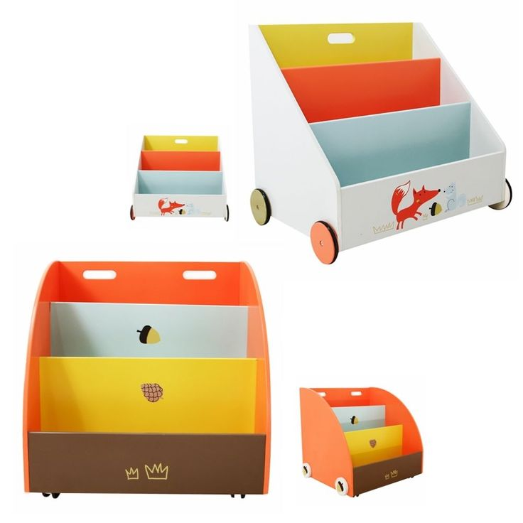 Helps keep bedrooms tidy and organized, with 4 wheels, can be as a baby walker. Engineered wood,with 4 wheels and easy to move,adds fun to any room,add color to any décor. Sweet bookshelf in the nursery.   eBay!