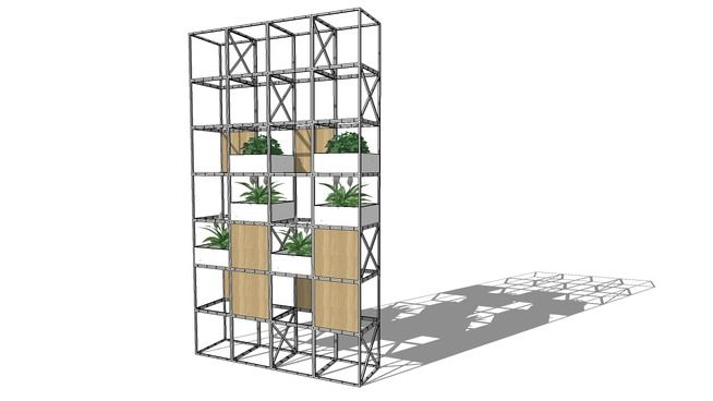 GRID Configuration with plant boxes and oak veneer panels - 3D Warehouse