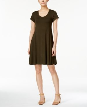 Style & Co Petite Short-Sleeve A-Line Dress, Only at Macy's - Green P/XL