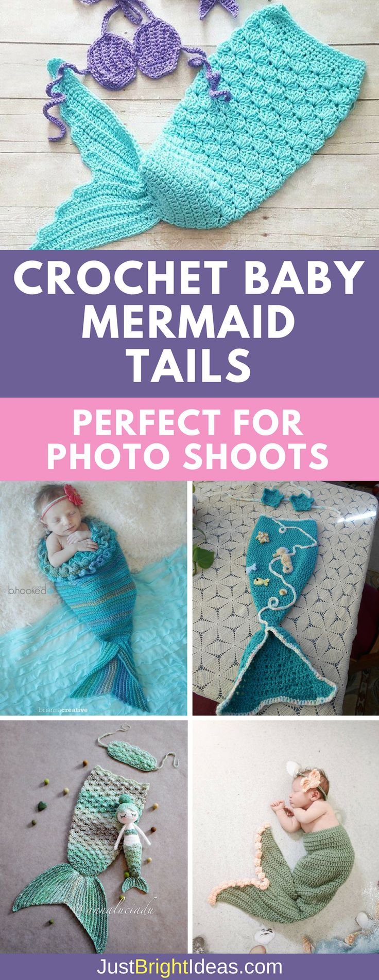 These crochet baby mermaid tail patterns are a must make if you are a planning a newborn photo shoot. Be sure to watch the video tutorials to show you how easy they are to make.