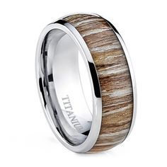 Oliveti Men's Dome Real Light Zebra Rosewood Inlay Comfort Fit Titanium Ring