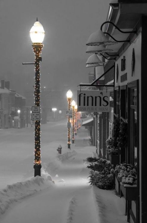 I love that this might represent just about any town any where in our world on Christmas Eve. It seems the whole world is more than ready to close shop and call it a day, and get home, safe and sound. Then, let it snow, let it snow, let it snow.