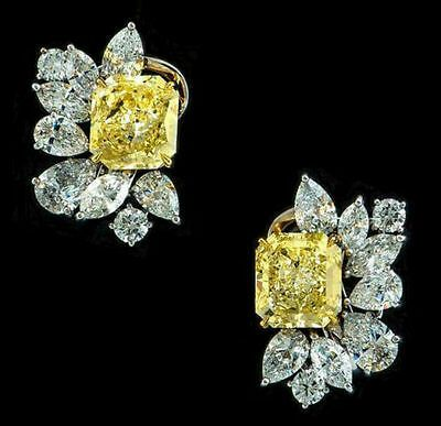 Details about 925 Sterling Silver Beautiful Yellow Radiant Flower Studs Earrings Jewelry Clust