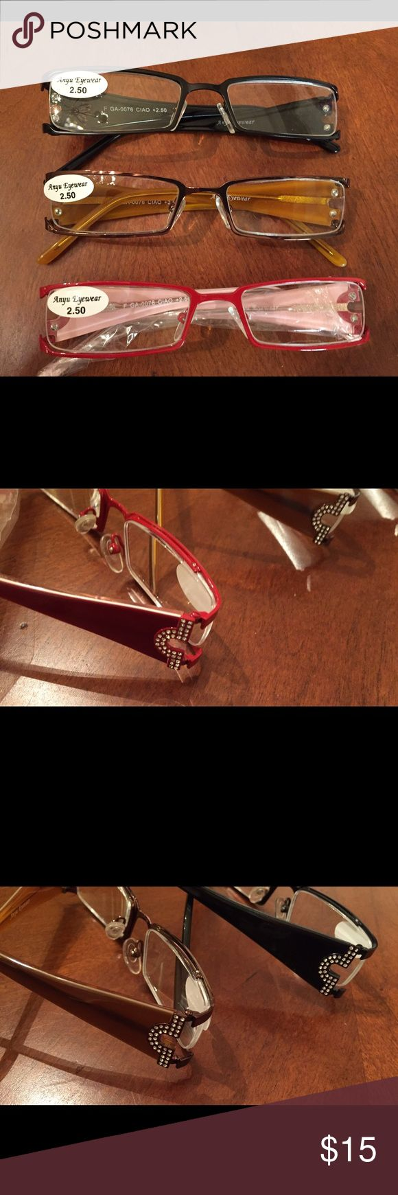 3 Pair of Reading Glasses Same with these I thought I could get by without going to the eye doctor. They are very cute, 1 red 1 black and 1 bronze, they have a little decorative pattern on the arm with silver sequins. NWT Anyu Eyewear Accessories Glasses