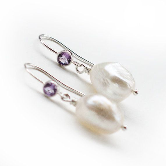 Silver Amethyst Unique Pearl Earrings by Jeva Jewels on #Etsy #JevaJewels #handmadejewelry #swissmade