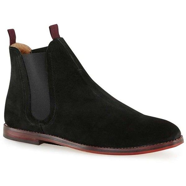 TOPMAN Hudson Black Suede Chelsea Boots ($125) ❤ liked on Polyvore featuring men's fashion, men's shoes, men's boots, black, mens suede shoes, mens suede boots, mens black suede boots, mens black boots and topman mens shoes
