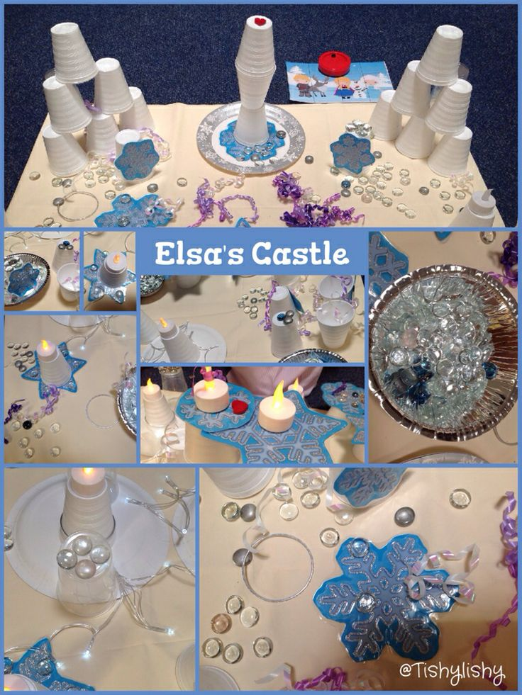 Elsa's Castle. Using foam cups, glass nuggets, tea lights and snowflakes.