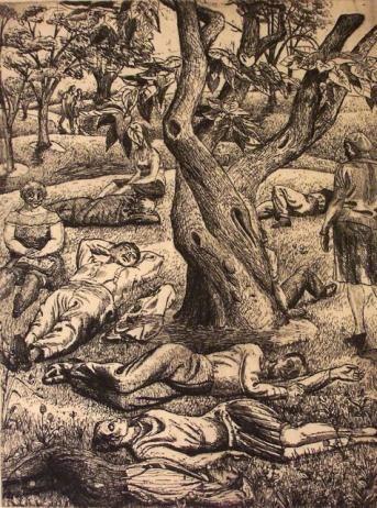 Central Park, etching, Harry Sternberg