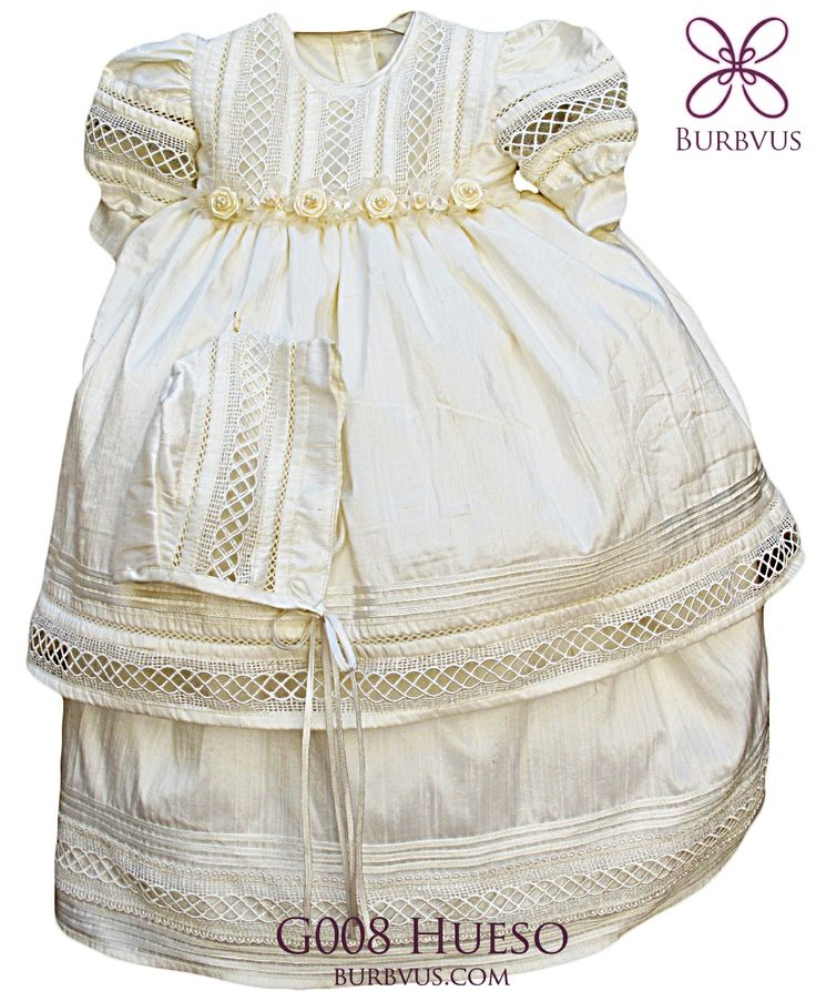 Vestido para niñas, modelo G008. Disponible en seda o algodon, color blanco o color hueso. #ropon #bautizo #nina #burbvus #vestidoparaninas