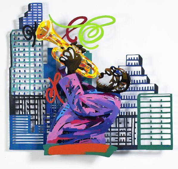 """Trumpetist #Jazz - 2004, 33"""" x 35"""" in, Wall Sculpture By #DavidGerstein - #HorizonArts #Miami #ArtGallery #Wynwood #Urban #Jazzandthecity http://www.davidgerstein.us/portfolio/trumpetist/"""