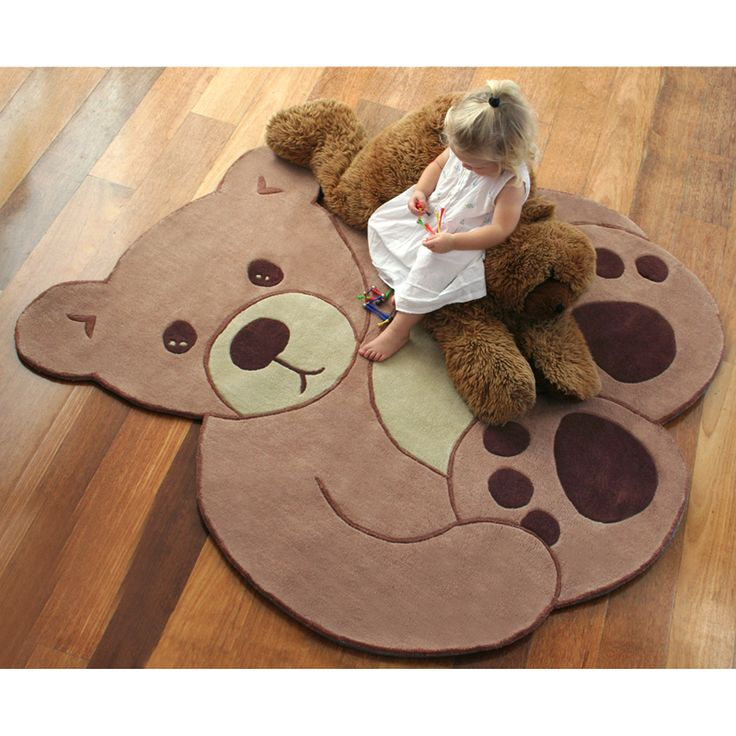 Bear Hug Kids Rug from BugRugs. What child wouldn't love the cuddly design of this rug?!?!  Perfect for a baby's nursery, child's bedroom or playroom.  A great children's rug for a gender neutral nursery as it suits boys and girls.  Available in a generous 1.5m diameter.  Too cute!