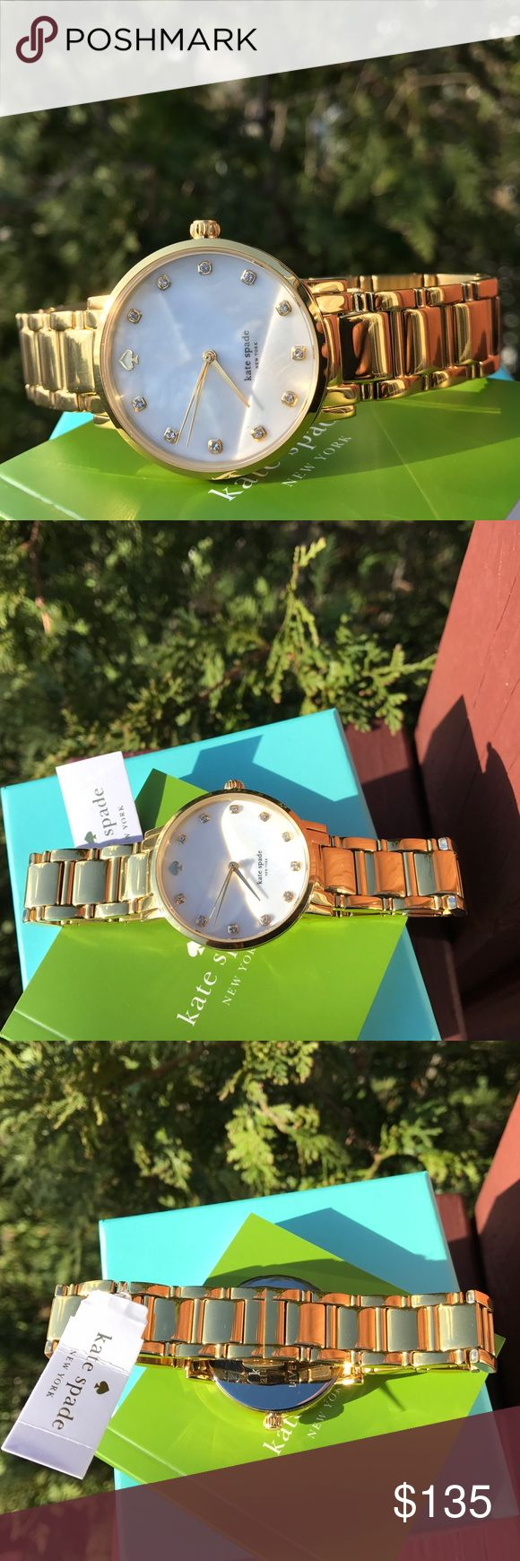 New Kate Spade Gramercy Gold Watch 1YRU0007 LAST 1! * Authentic 1YRU0007 * Model: Gramercy  * Retail: $250 * Gold stainless steel  * New with Kate Spade watch box and owners booklet included  * 34mm Mother-Of-Pearl dial  * 3 ATM  * UPC: 098686232341 * WHAT A BEAUTY!  No trades. Buy now or offer only / Same business day shipping. kate spade Accessories Watches