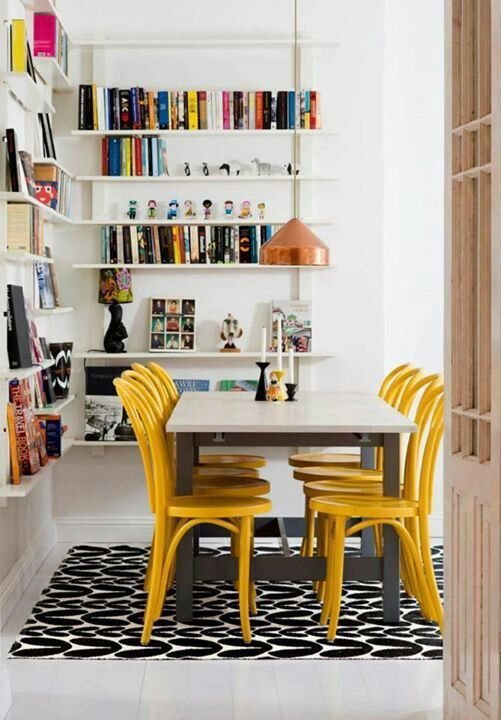 Dining. Yellow chairs are fun and if buying cheapish ones doesn't matter because they can be repainted.