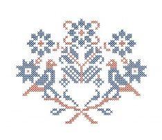 Výšivka Liptovské Sliače, rozmer 12x10 cm, modro-červená