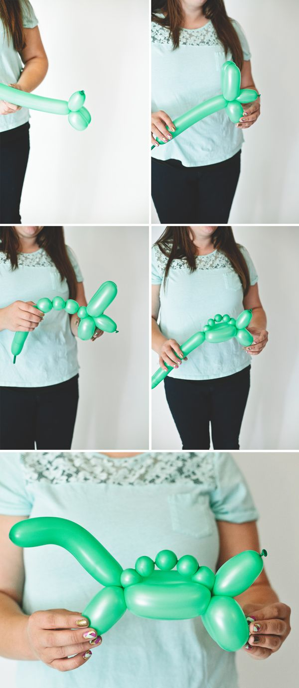 4 DIY balloon animals (octopus, elephant, giraffe and dinosaur)