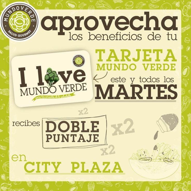 Recuerda que hoy es martes de doble puntaje con tu tarjeta #MundoVerde. ¿Qué esperas? Ven a City Plaza y disfruta de nuestro Menú.