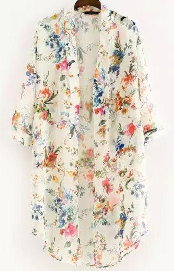 White Half Sleeve Floral Loose Kimono 14.33