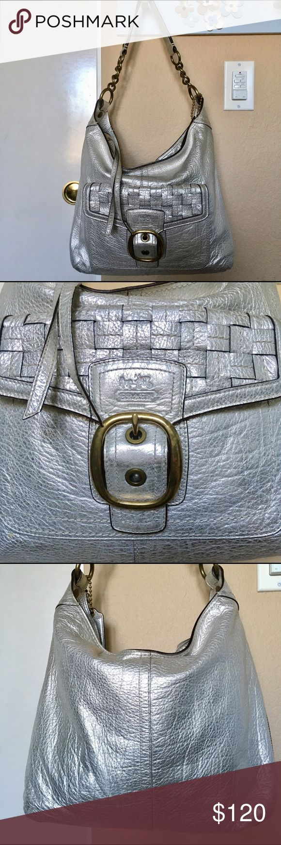 Coach Bleeker metallic woven leather hobo bag Coach Bleeker platinum metallic woven pocket leather hobo bag. Bag and strap in great condition.  Pocket on front with snap closure. Coach Bags Hobos