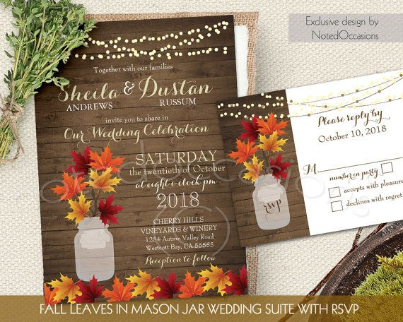 Rustic Fall Wedding Invitation Set Leaves In Mason Jar Invitations Country Suite